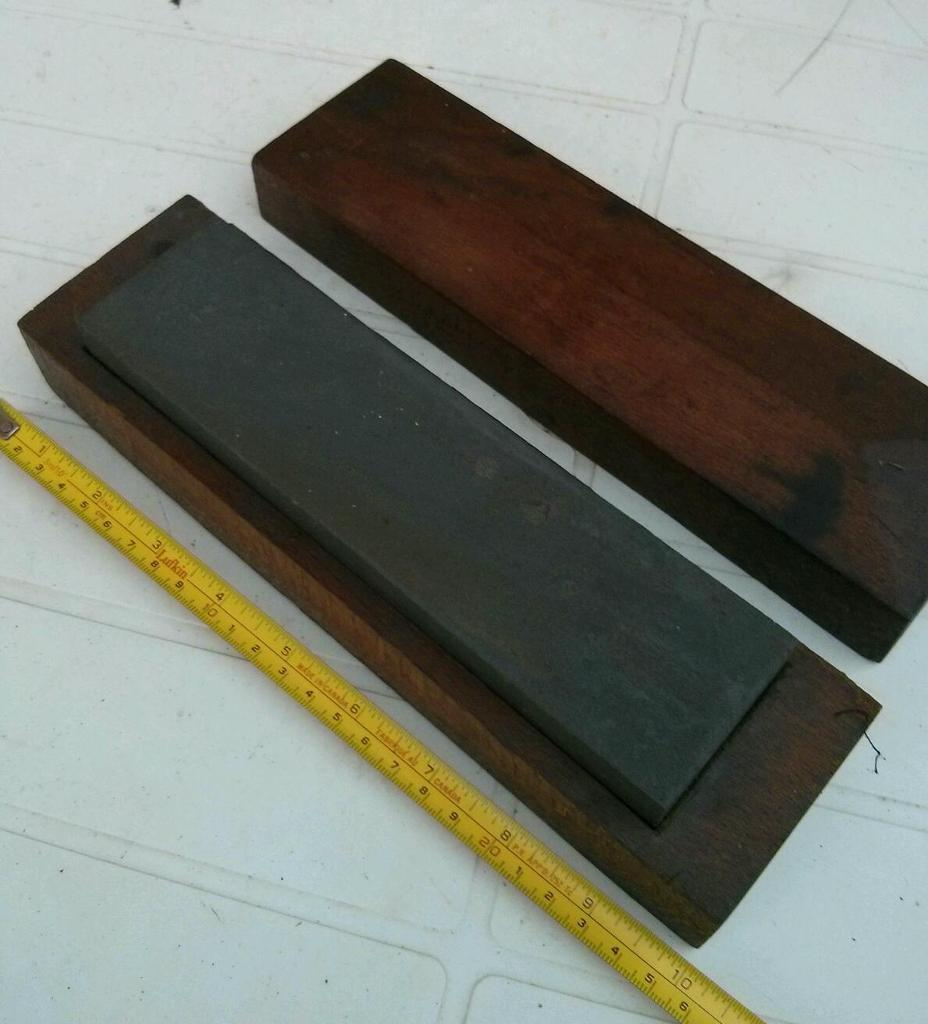 Quality Sharpening stone in fitted mahogany case