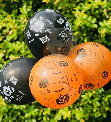 Scary Halloween Balloons (10 Assorted Halloween Balloons Skull Pumpkin Trick or Treat Scary Party Decor)