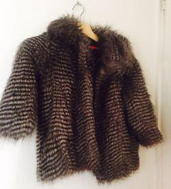 River island Faux fur jacket size 6