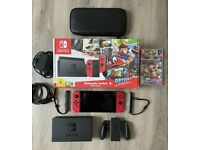 Nintendo Switch Console Mario Red + Official Case & Mario Kart 8 Great Condition