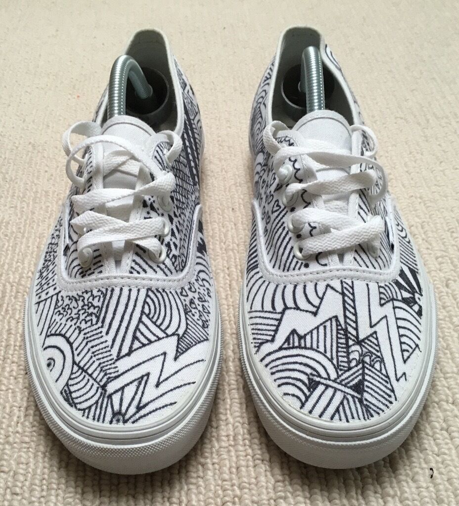 Vans Custom Hand Drawn Trainers Sneakers Yeezy Boost Fear Of God Supreme