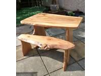 Handmade Live Edge wooden kitchen dinning table & bench