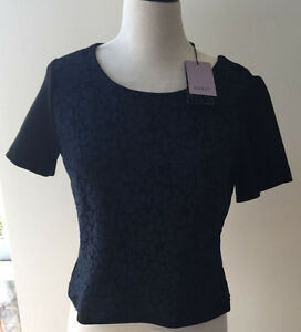 BNWT-WOMENS-COAST-TULLAH-LACE-SHORT-SLEEVE-NAVY-TEE-T-SHIRT-SIZE-12