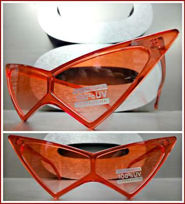 Exaggerated Exotic Funky Retro Cat Eye Style SUNGLASSES Pointy Red Frame & (Exaggerated Cat Eye Sunglasses)