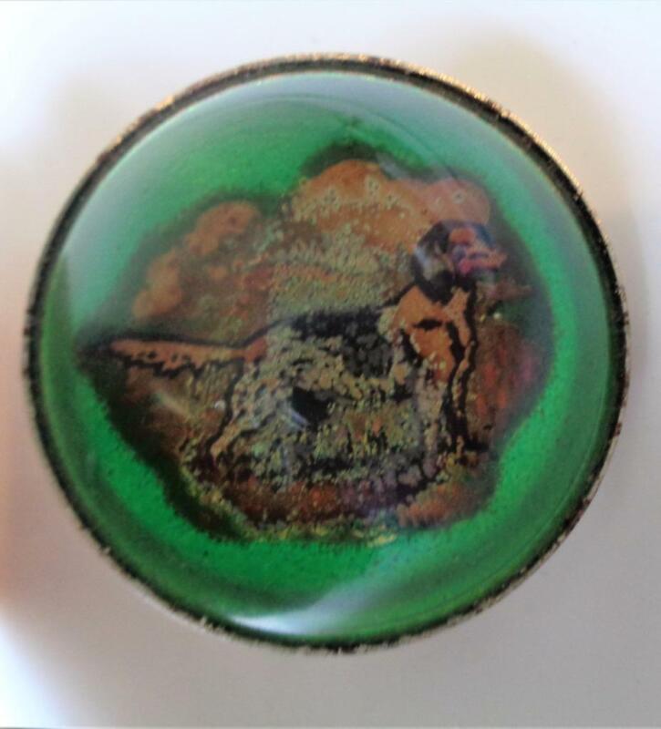 Large Antique Glass Button Shoe Decoration HUNTING DOG Retriever English Spaniel