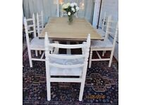 Shabby Chic Younger Toledo solid Oak Quality Table 6 chairs Rustic Sturdy