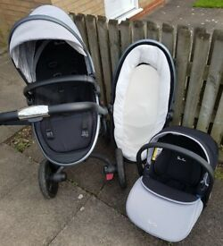 Silver cross surf 3 travel system in grey.
