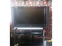Phillips 42 inch flat HD Ready Tv with black glass stand
