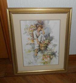 Large framed Gordon King print of a lady