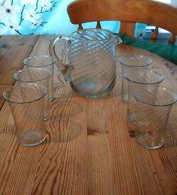 Vintage Glass Pitcher / Jug + 6 Glasses Set, Swirled, Summer Glassware
