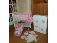 Crying Baby Doll Bundle with Crib & Wardrobe