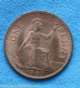 1967 Queen Elizabeth Uncirculated One Penny Coin