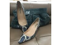 "Ladies Leather ""Snake Skin"" LK Bennett shoes and matching bag"