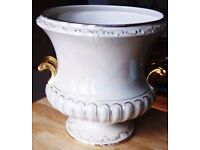 Large Flower Pot / Jardiniere in Cream and Gold