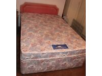 SILENT NIGHT DOUBLE MATTRESS WITH DIVAN BED BASE WITH TWO DRAWS FREE LOCAL DELIVERY 07486933766
