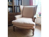 HANDSOME QUEEN ANNE STYLE WINGBACK CHAIR EXCELLENT CONDITION