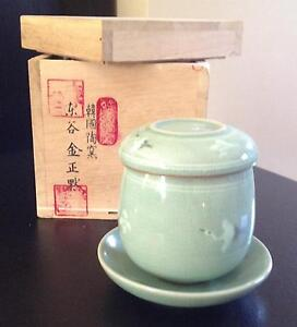 Korean crane teacup with strainer for steeped tea