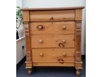 Large Victorian Antique Old Stripped Pine Chest of Drawers with Ornate Carved Panels