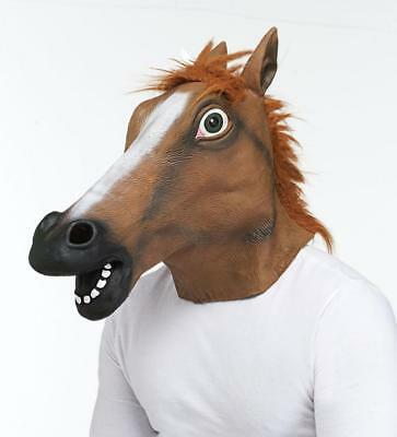 Latex Funny HORSE HEAD Mask with a Hair Mane. Adult Sized - Halloween Costumes With Horses
