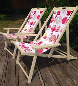 Vintage refurbished wood deckchairs