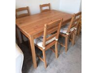 Wooden Dining Table and 4 Chairs Home Furniture