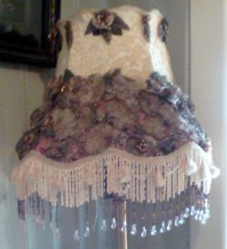 """LAMP SHADE FOR TABLE OR FLOOR LAMP-SILK FLOWERS IN GREYS AND MAUVES, BEADS AND SEQUINS.-14"""" LONG"""