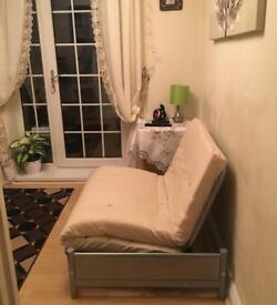 Futon Metal Sofa Bed with Mattress Single (Cream) * NEW * NOT USED - PURCHASED FEW WEEKS AGO