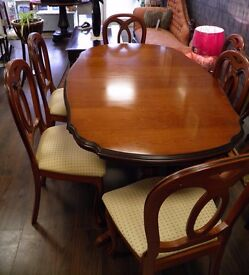 Stunning Cherry Wood Shaped Extending Dining Table & Six Chairs - WE CAN DELIVER!