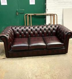 Chesterfield Thomas Lloyd 3 Seater Sofa Settee As New Oxblood