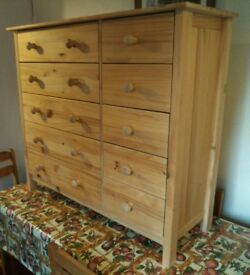 Large real pine chest of drawers