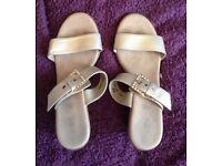 Gold Ladies Sandals - size 4