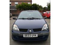 Clio 2 2003 - low mileage (74000miles), MOT until 1 Sept 2017, 3 doors (yaris polo fiesta size)