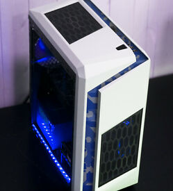 Gaming Camo Computer PC Intel Quad Core 12GB Ram GTX 1050ti Windows 10 Home Green LED lights