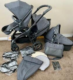 Egg Double Tandem Pram Pushchair 2 seats + Carry Cot GREY