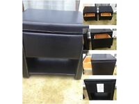 2x black faux leather one drawer bedside table cabinet
