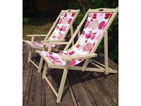 Pair vintage wood deckchairs, new fabric