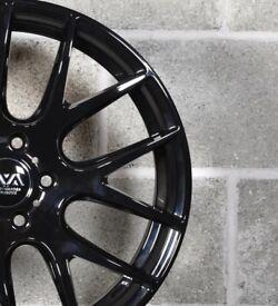 """18"""" AVA Phoenix Gloss Black Alloy Wheels 5x112 Vw Seat Audi"""