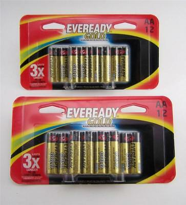 24 Eveready Gold AA Batteries SHIPS FREE Lasts Longer DOUBLE