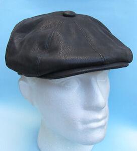 Flat-Cap-Black-Leather-Look-Baker-Boy-Gatsby