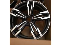 "One 19"" inch 5 Twin Spoke 5x120 / 9.5j wheel fits BMW M5 M3 black machined face"
