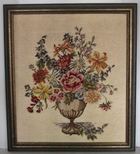 VTG Handmade Crewel Floral Print-Multi Color Flowers in Pedestal Vase-20x23 -EUC
