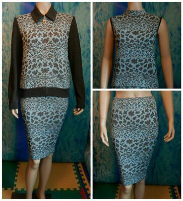 St John Collection Knit Blue Gray Jacket Skirt Top L 10 3pc Set Animal Print