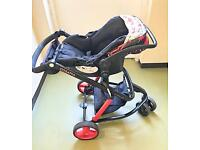 Cosatto pushchair, car seat & flat carry