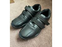 Mens black faux leather shoes