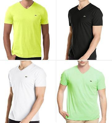 NEW AUTHENTIC LACOSTE V-NECK TEE SHORT SLEEVE PIMA COTTON MEN'S FASHION (Sleeve Pima Cotton Tee)