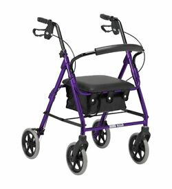 Lightweight Folding 4 Wheel Rollator Walker with Padded Seat, Lockable Brakes & Carry Bag - purple