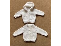 Unisex Baby Hand Knitted White Cardigans 3 - 6 Months