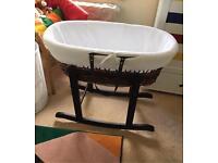 Dark Wicker Moses Basket & Rocking Stand