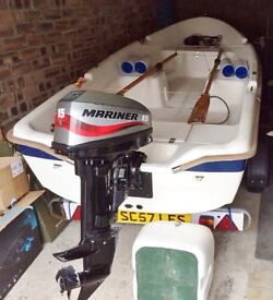 12ft Open Fibreglass Boat. 15hp Mariner
