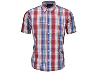 New Men's Check Shirt size XL Short Sleeve Checked Casual Top. Red Navy Blue White